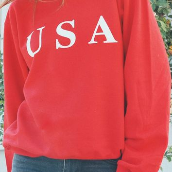 USA Oversized Sweatshirt - Red