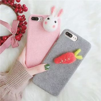 Squishy iphone  Pink Gray Plush Furry case  Free Shipping