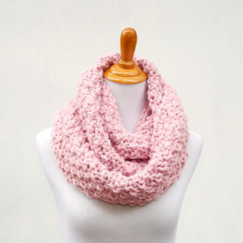Breast Cancer Awareness Scarf - Chunky Knit Infinity Scarf - Proceeds to Charity - Think Pink - Oversized Scarf - Knit Chunky Cowl