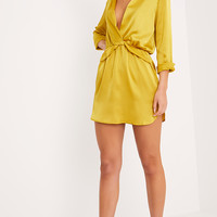 Katalea Dark Lime Twist Front Silky Shirt Dress