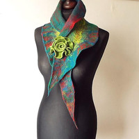 Felted Collar Colorful Felt Scarf Felted Shawl Green Red Petrol Art To Wear For Her Collar with felted brooch Spring Women's Gift OOAK