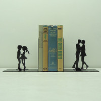 Kissing Couples Metal Art Bookends - Free USA Shipping