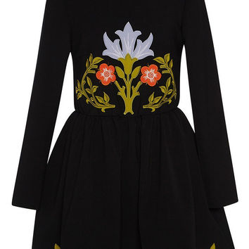 Black Pleated High Waist Long Sleeve Floral Embroidered Dress