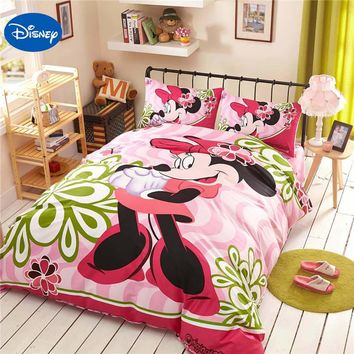 Sweet pink minnie mickey mouse bed sheet set twin queen full king cotton beddings for princess girl baby gift linens pillow case