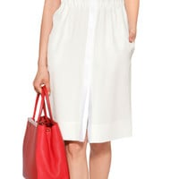 Fendi - Ivory/White Sleeveless Silk-Blend Dress