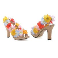 4 Inch Heel Sandals Sexy Hawaiian Costume Shoes Lei Luau Flowers Size: 8