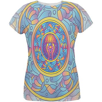 Mandala Trippy Stained Glass Jellyfish All Over Womens T Shirt