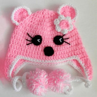 Baby Girls Chunky Animal Hat Winter Hat Baby Beanie Baby Hat Baby Shower Gift Crochet Baby Hat Christmas Gift Ideas Newborn to 4T Gift Ideas