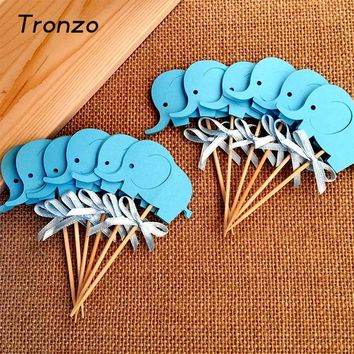 Tronzo 10Pcs Baby Shower Elephant Cupcake Toppers Double-Sided Boy Birthday Party Favors Cake Decoration Food Picks Supplies