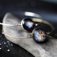 Delicate Simple Galaxy Space Cuff Bracelet