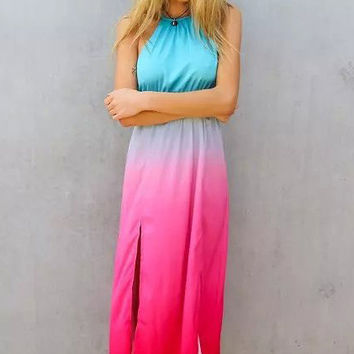 Gradient Color Halter Split Front Maxi Dress