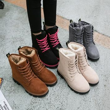 2018 Women Boots Winter Warm Fur Plush Shoes Woman Snow Ankle Boots Cotton Comfort Martin Botas Mujer Flats Motocycle Booties