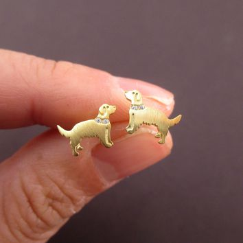 Golden Retriever Shaped Stud Earrings with Rhinestones in Gold