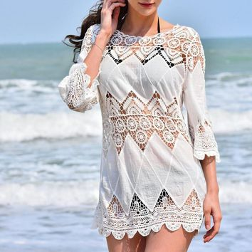 swim suit  women cover-ups Saida De Praia  Openwork Swimwear Beach Cover Up Sexy Swimsuit Cover Ups  Cotton Beach Wear