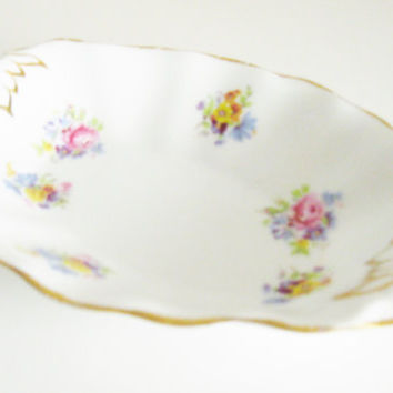 Porcelain Dish Bone China Antique Royal Stuart Candy Pin Dish Vintage English Spencer Stevenson England Crown Antique circa 1940's or 50's.