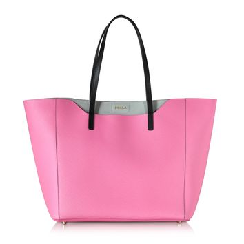Furla Fantasia Pink & Gray Leather Tote Bag
