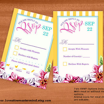 DIY Wedding Template rsvp response card, Instant Download, Editable PDF, Printable, Digital, Floral with Yellow and White Stripes #1CM80-3