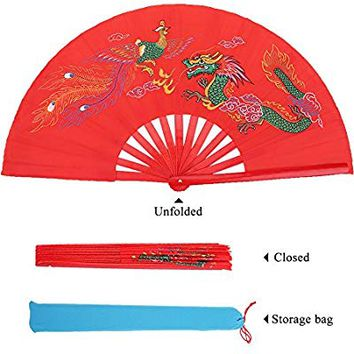Kung Fu Fighting Fan Chinese Taichi Martial Arts Dance Bamboo Fan Dragon + Phoenix Folding Hand Fan Red