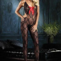 Bow Lace Waist Cut Out Lace Up Front Bodystocking