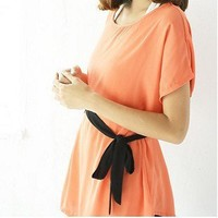 Mature Style Attach Waistband Plicated Tee Orange Red-Wholesale Women Fashion From Icanfashion.com
