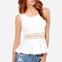 White Casual Lace Embroidered Zipper Back Sleeveless Flounce Shirt