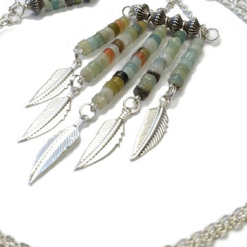 Multi Color Beaded Chevron Feather Necklace, Silver Plated Chain And Natural Amazonite Tribal Jewelry, Cute Bohemian Accessories