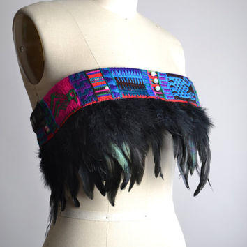 Festival Feather Top - Burning man Clothing - Hippie - Festival Fashion - Festival Clothing - Tribal Feather Pixie Skirt