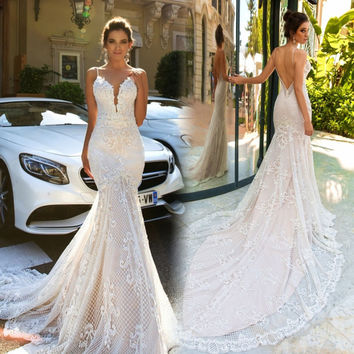 Vestidos De Novia 2017 Mermaid Wedding Dresses Sleeveless Sheer Neck Sweep Train Robe De Mariage Sexy Wedding Gowns