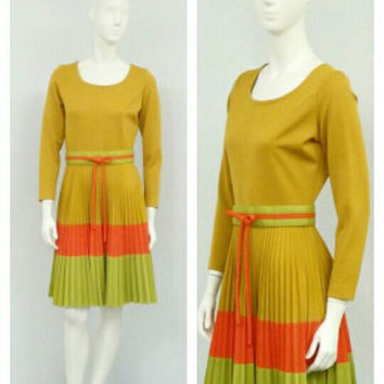 Vintage 60s Mod Tan Pleated Dress, Olive Green Striped Dress, Circle Dress, Full Skirt Dress, Knee Length Dress, Mod Dress
