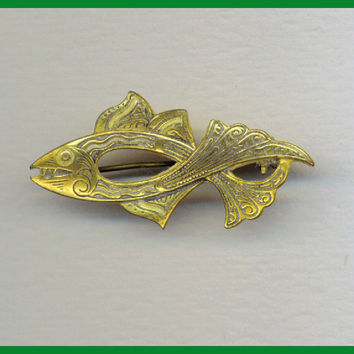 Damascene Vintage Fish Brooch Pin Made in Spain by TheMaineCoonCat