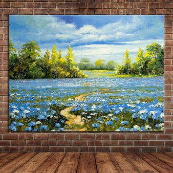 Modern Blue Sky Flowers Nature View Landscape Hand Made Oil Painting Large Wall Art Canvas Pictures Room Home Decor