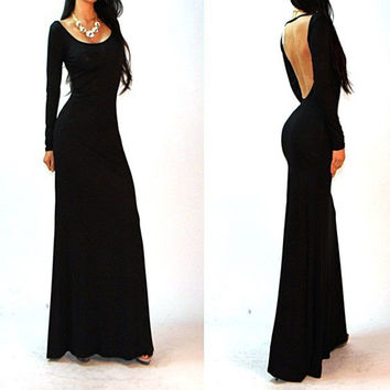 Summer Prom Dress Sexy Backless Long Sleeve One Piece Dress [6281585476]