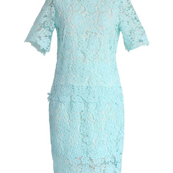 Mint Blue Floral Lace Top and Skirt Set Blue M