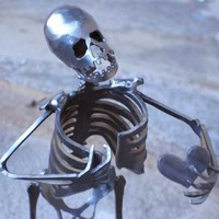Zombie Skeleton Take My Heart Metal Sculpture by zedszombieranch