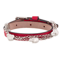 Alexander Mcqueen Red Leather Double Wrap Skull City Bracelet