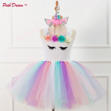 POSH DREAM Unicorn Flower Girls Tutu Dress Rainbow Princess Girls Birthday Party Dress Children Kids Halloween Unicorn Costume