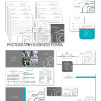 27 Pc. Photography marketing set and business forms and wedding contract kit teal, grey and white - all editable psd files