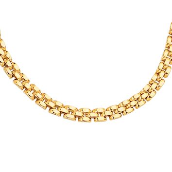 14K Yellow Gold 4.0mm Shiny 3 Row Panther Chain Link Bracelet with Box Catch Clasp