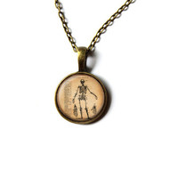 Human anatomy pendant Antique macabre jewelry Skeleton necklace NW268