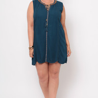 Plus Size Embroidered Crochet Trim Dress - Teal