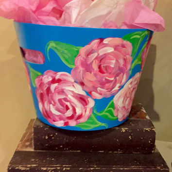 Lilly Pulitzer inspired bucket. Easter basket, organizer or bsthroom tote!!