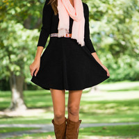 Belted Flare Dress, Black