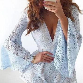 Hot sale fashion sexy v neck lace long sleeve short pomper
