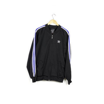 90s ADIDAS track jacket / vintage 1990s 80s / black and white / blue racing stripes / basic / retro minimal logo / athletic / medium - large