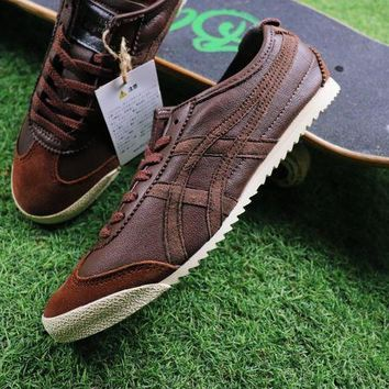 MDIGU3S Sale Asics Onitsuka Tiger Sheepskin Shoes Dark Brown Sneaker