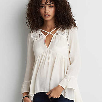 AEO Lace Yoke Tunic , Cream