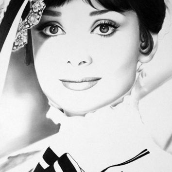 Audrey Hepburn Fine Art Archival High Quality Cotton Paper Print Pencil Drawing Portrait My Fair Lady Hand Signed by the Artist