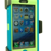 Iphone 5 Defender Body Armor Case Teal on Punk Green with Belt Clip Holster Comparable to Otterbox Defender Series + Save the Ta Tas Silicone Bracelet