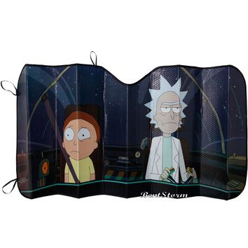 "Licensed cool Rick & Morty ACCORDION SUNSHADE Sun Shade Auto Car Truck 58"" x 27 1/2  SHIP"