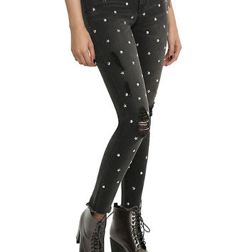 Almost Famous Black Studded Skinny Jeans